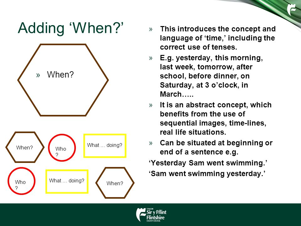 Adding 'When ' This introduces the concept and language of 'time,' including the correct use of tenses.
