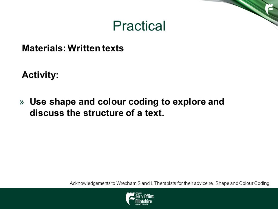 Practical Materials: Written texts Activity: