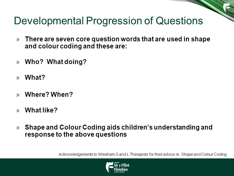 Developmental Progression of Questions