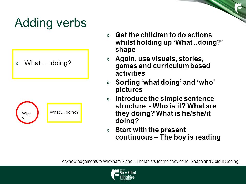 Adding verbs Get the children to do actions whilst holding up 'What ..doing ' shape.