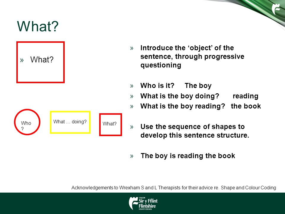 What What Introduce the 'object' of the sentence, through progressive questioning. Who is it The boy.