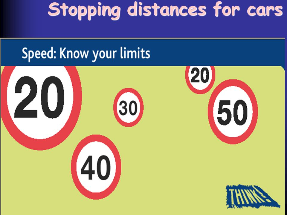 Stopping distances for cars