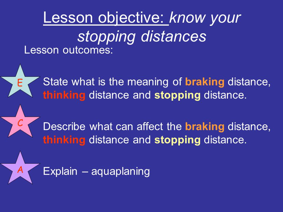 Lesson objective: know your stopping distances
