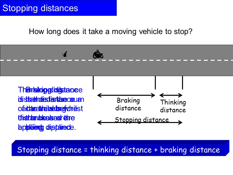  Stopping distances  How long does it take a moving vehicle to stop