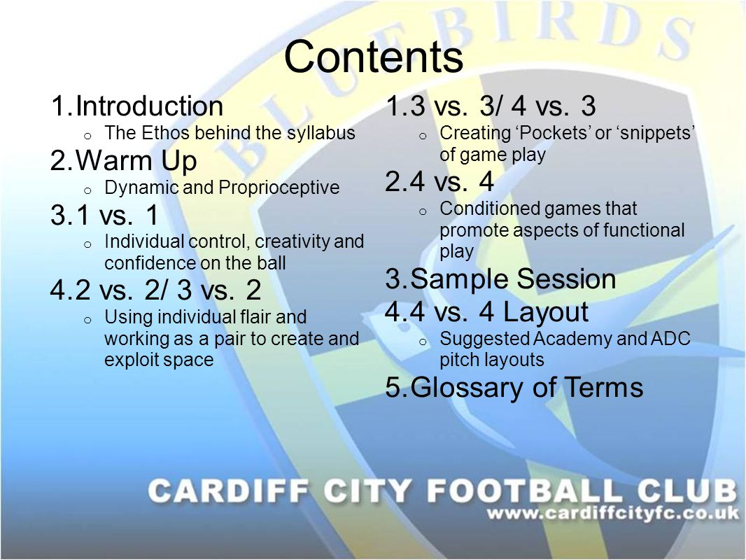 Contents Introduction Warm Up 1 vs. 1 2 vs. 2/ 3 vs. 2