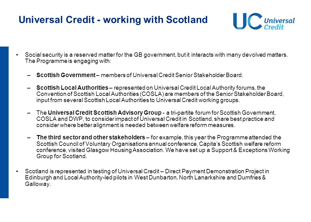 Universal Credit – working with Wales