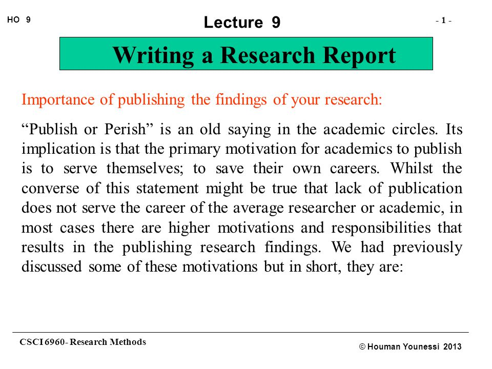 Importance of publishing the findings of your research:
