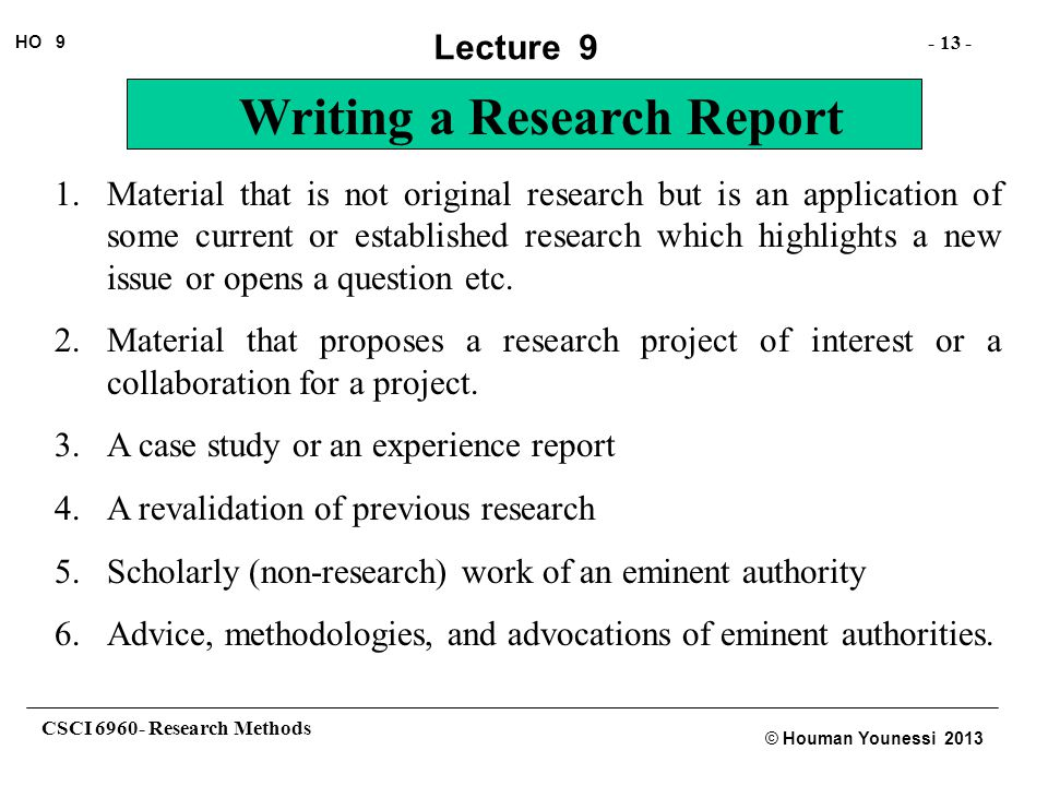 Material that is not original research but is an application of some current or established research which highlights a new issue or opens a question etc.