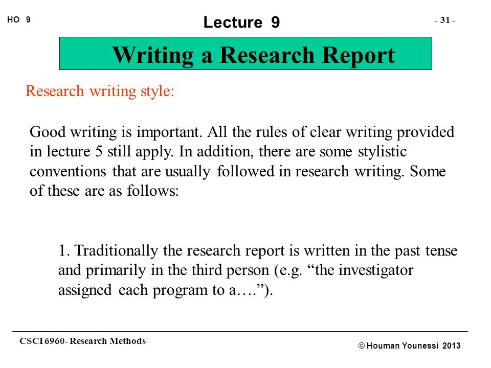 Research writing style: