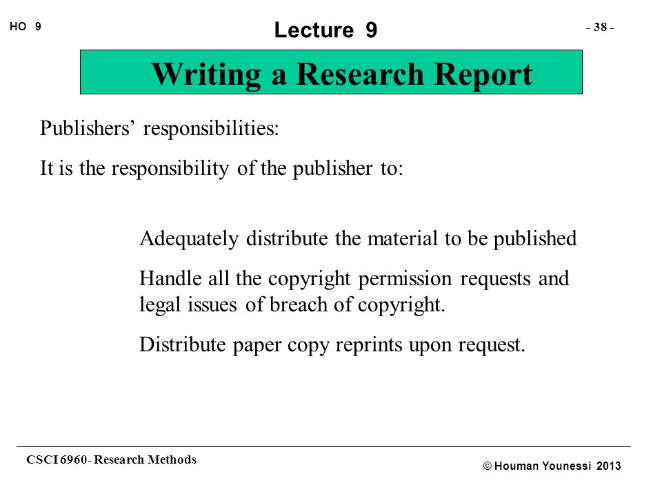 Publishers' responsibilities: