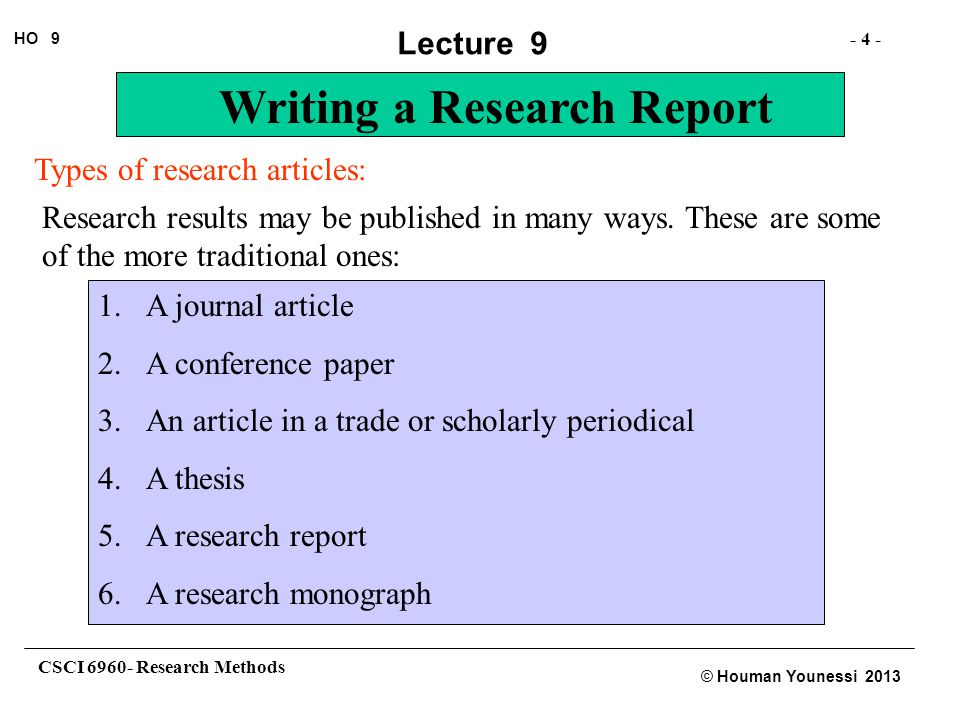 Types of research articles: