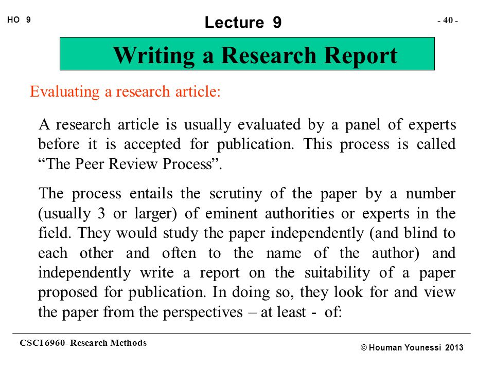 Evaluating a research article: