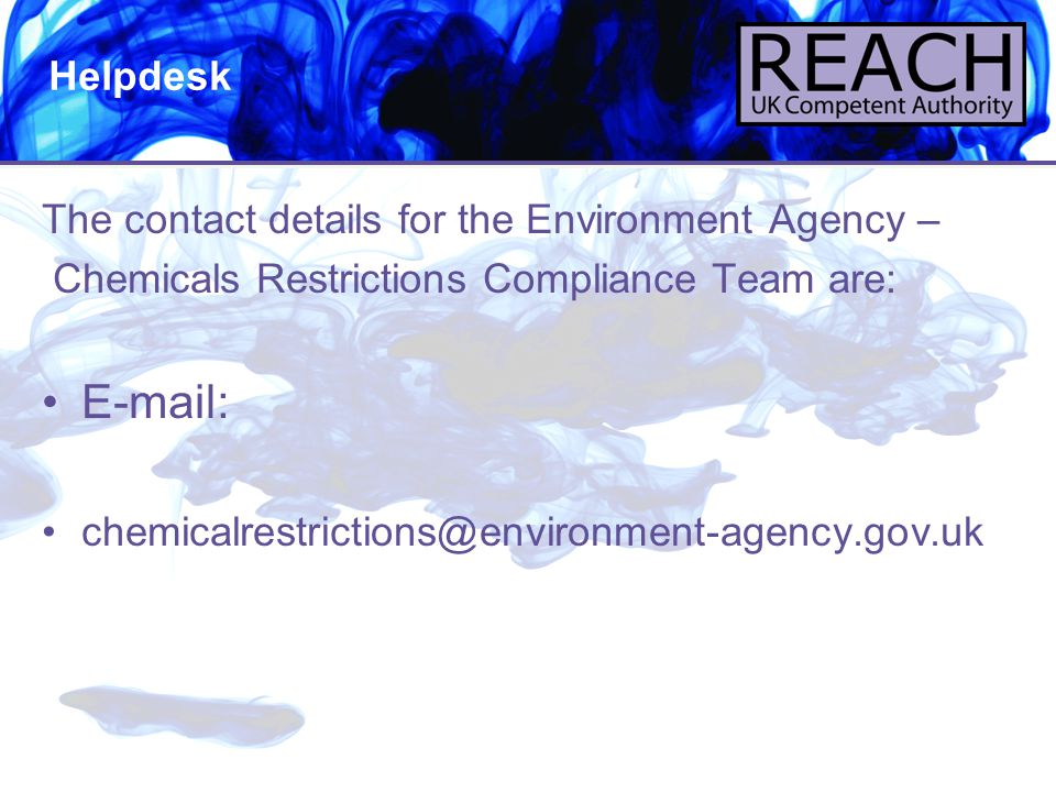E-mail: Helpdesk The contact details for the Environment Agency –