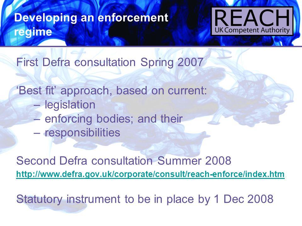 Developing an enforcement regime