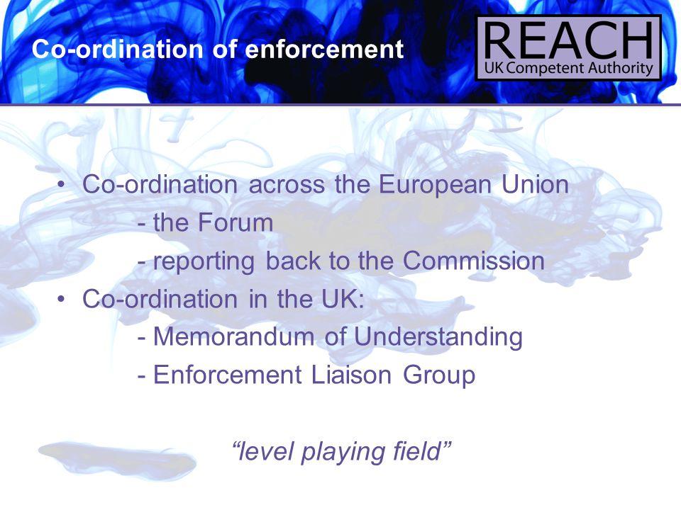 Co-ordination of enforcement