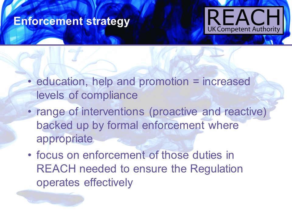 Enforcement strategy education, help and promotion = increased levels of compliance.
