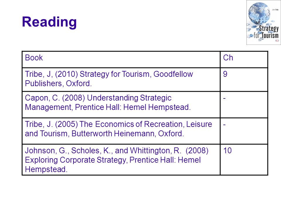 Reading Book. Ch. Tribe, J, (2010) Strategy for Tourism, Goodfellow Publishers, Oxford. 9.