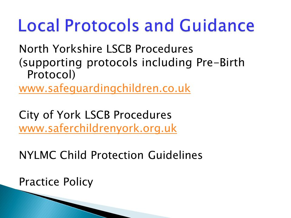 Local Protocols and Guidance