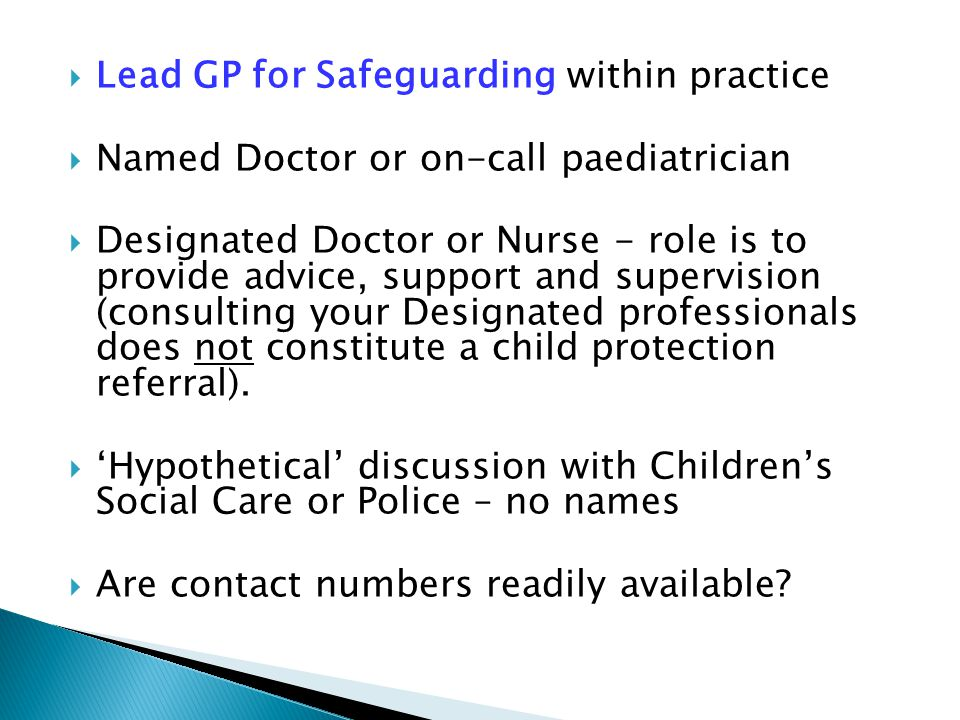 Lead GP for Safeguarding within practice