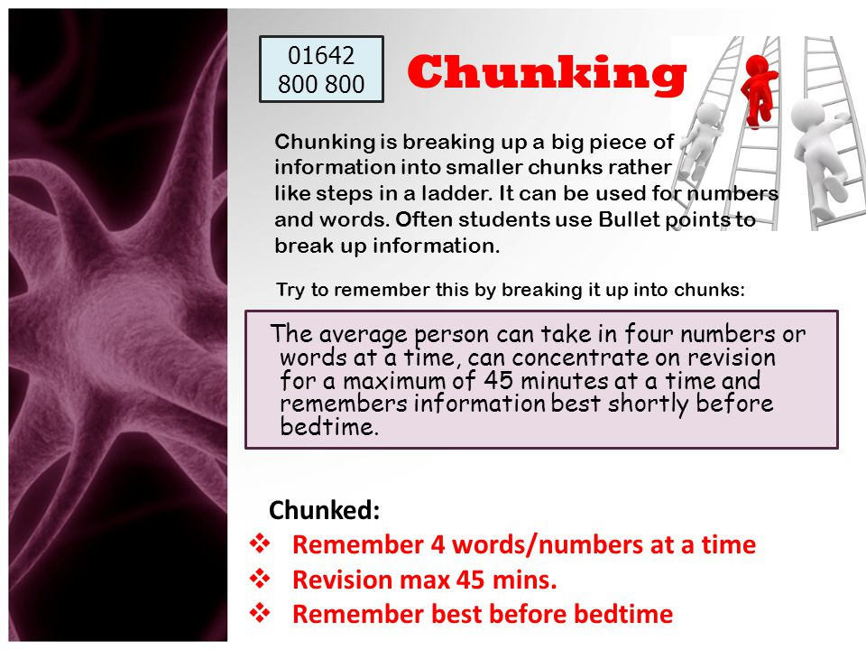 Chunking Remember 4 words/numbers at a time Revision max 45 mins.
