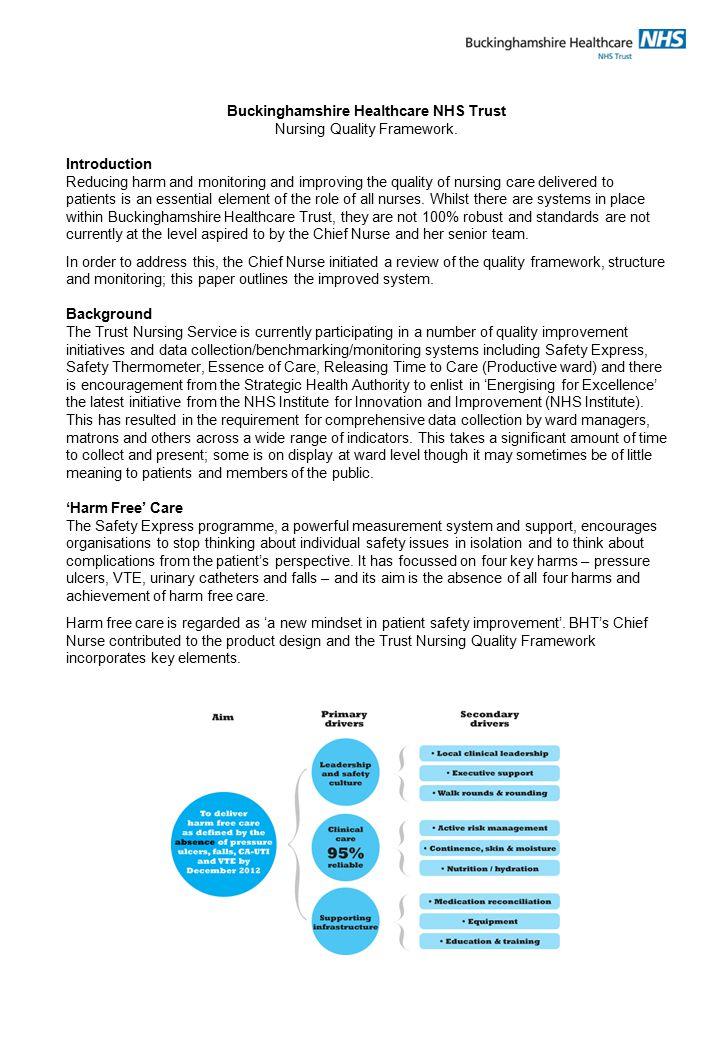 Buckinghamshire Healthcare NHS Trust Nursing Quality Framework.