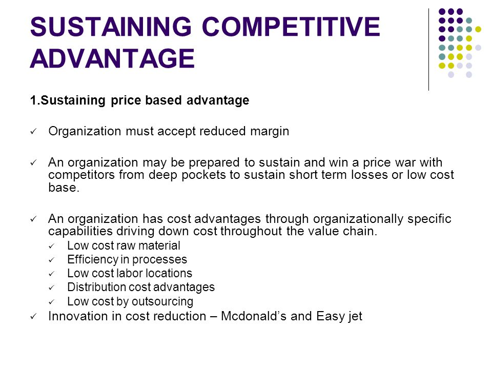 sustaining competitive advantage However, investors shouldn't overlook apple's sustainable competitive advantages -- the long-term strengths that give it a lasting edge over its rivals let's discuss two of those key strengths -- a protected ecosystem and brand appeal-- which should keep apple ahead of its rivals for the.