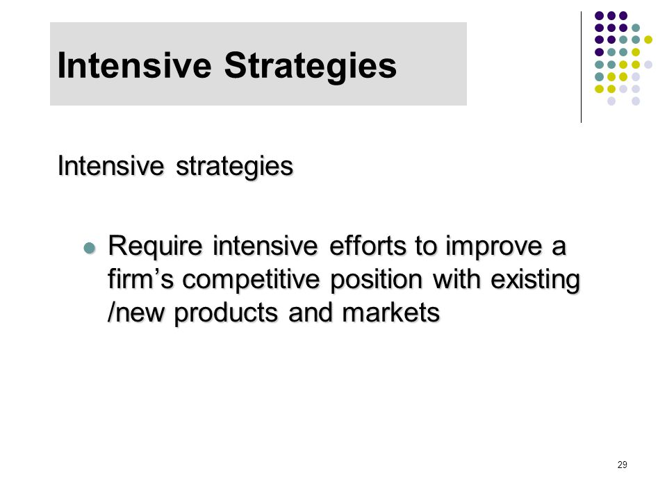 Intensive Strategies Intensive strategies