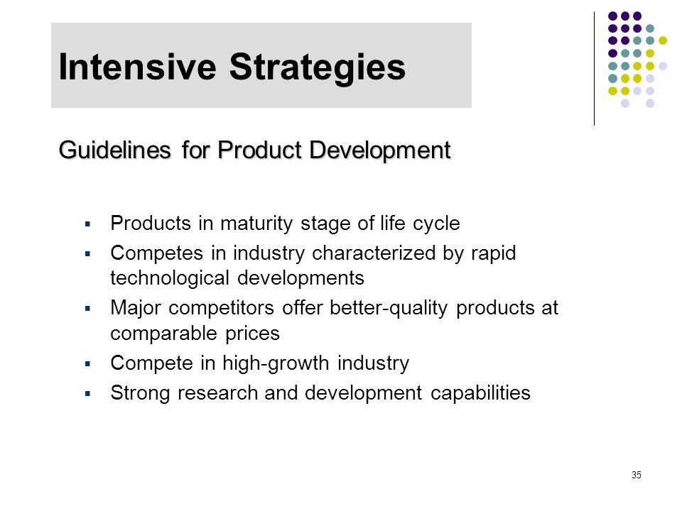 Intensive Strategies Guidelines for Product Development