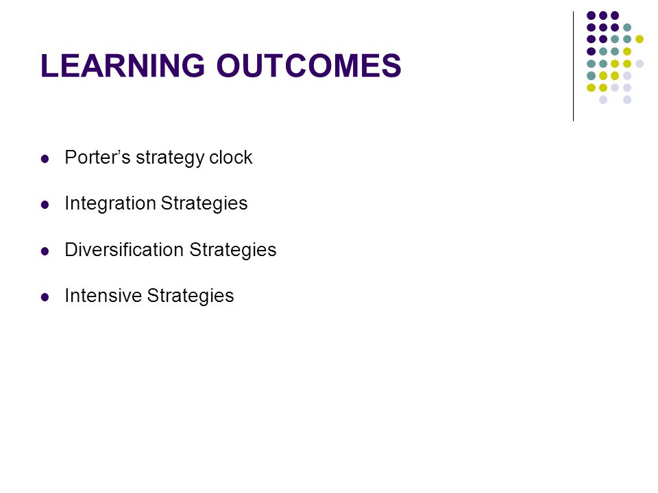LEARNING OUTCOMES Porter's strategy clock Integration Strategies