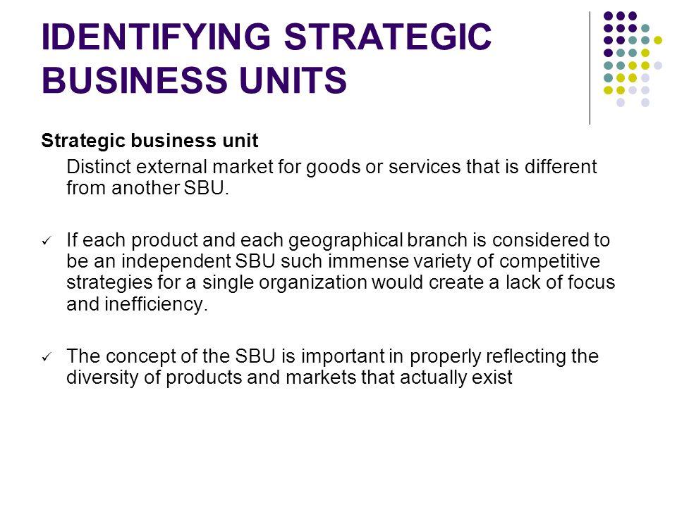 IDENTIFYING STRATEGIC BUSINESS UNITS