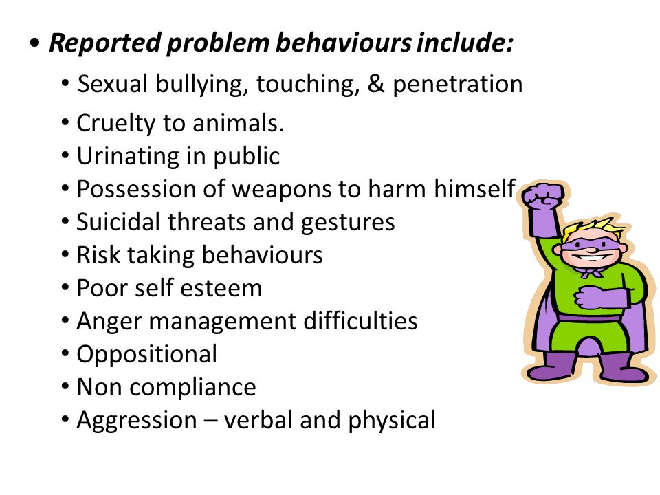 Reported problem behaviours include: