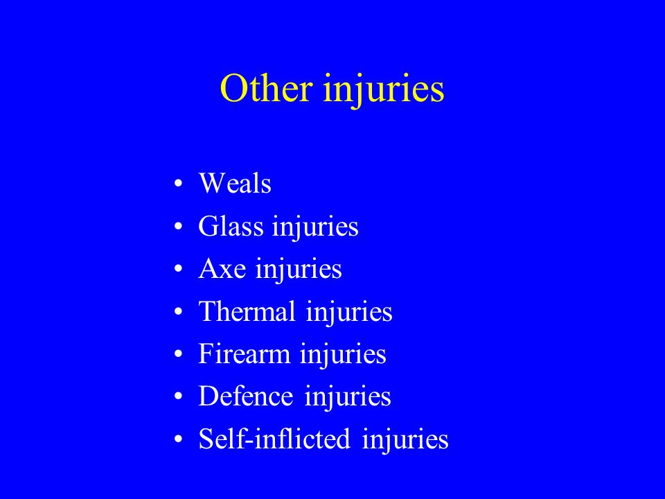 Other injuries Weals Glass injuries Axe injuries Thermal injuries