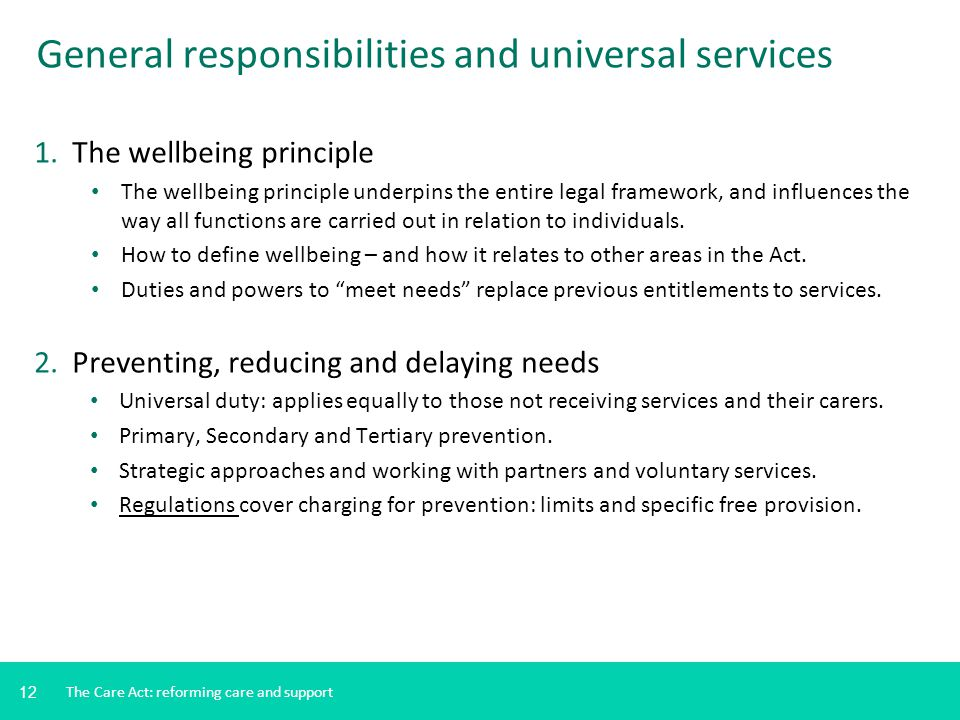 General responsibilities and universal services