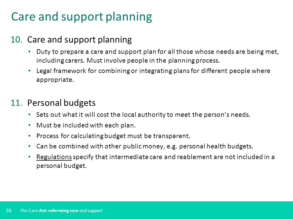 Care and support planning