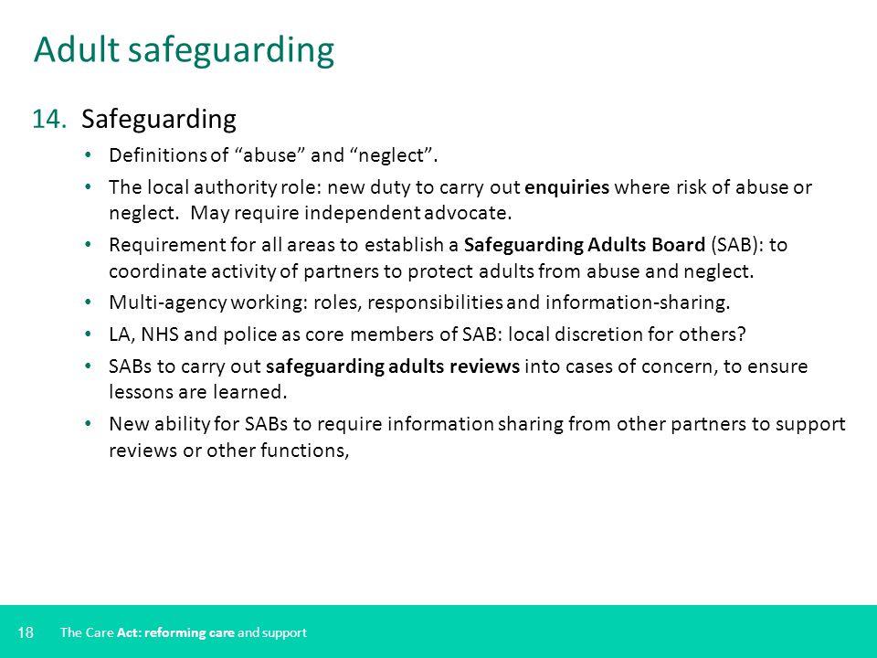 Adult safeguarding 14. Safeguarding