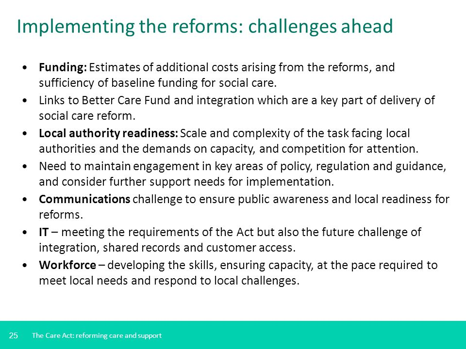 Implementing the reforms: challenges ahead