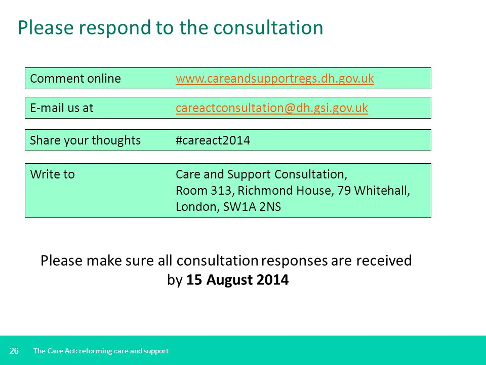 Please respond to the consultation