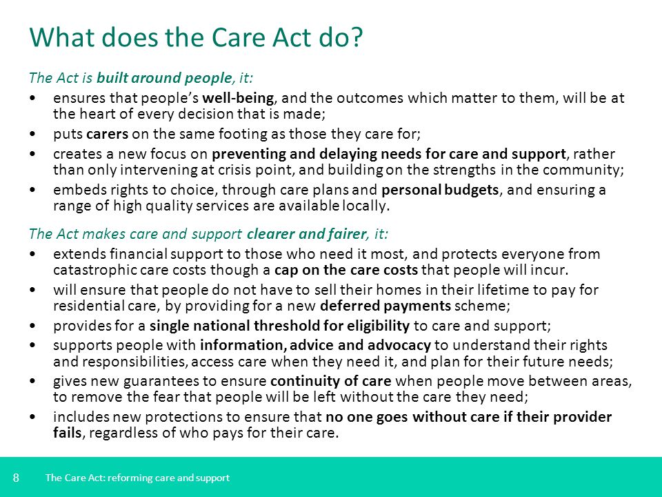 What does the Care Act do