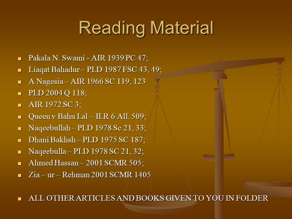 Reading Material Pakala N. Swami - AIR 1939 PC 47;