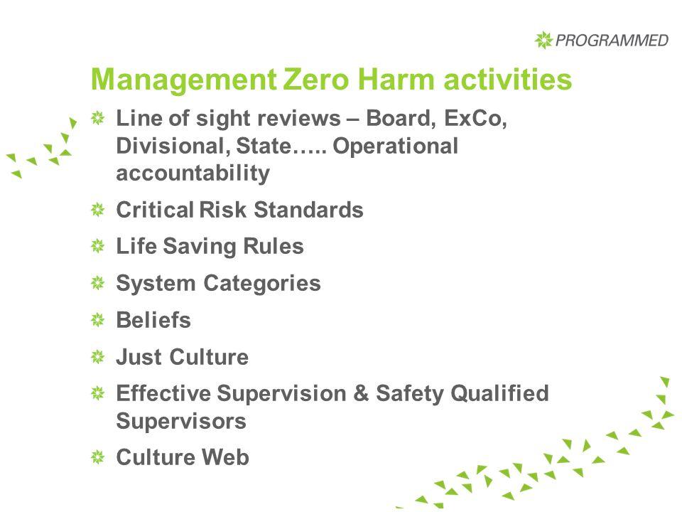 Management Zero Harm activities