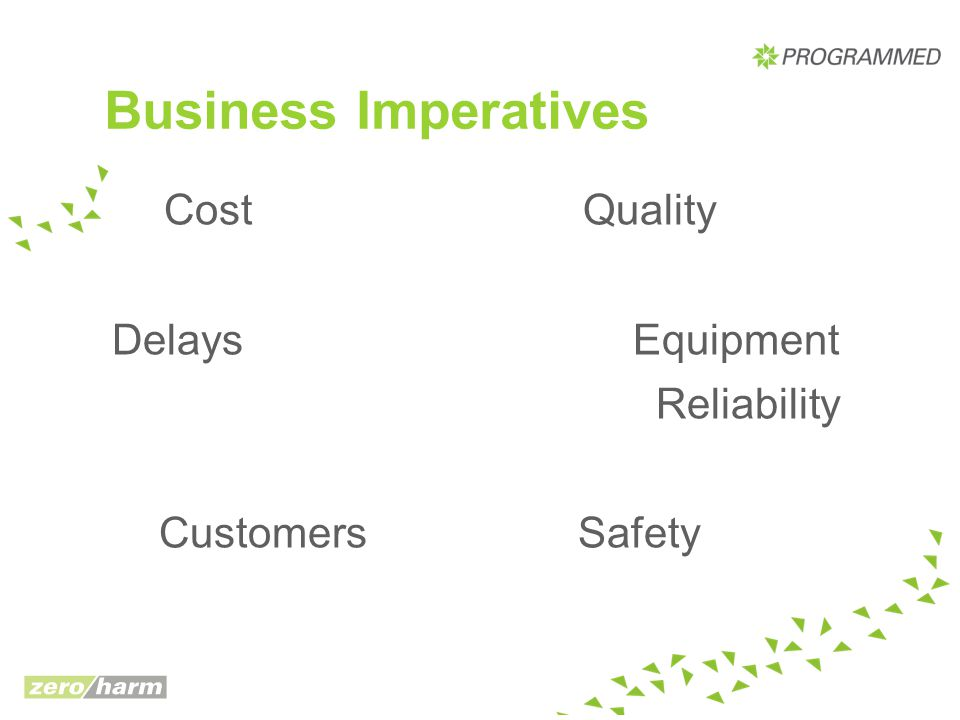 Business Imperatives Delays Equipment Reliability Customers Safety