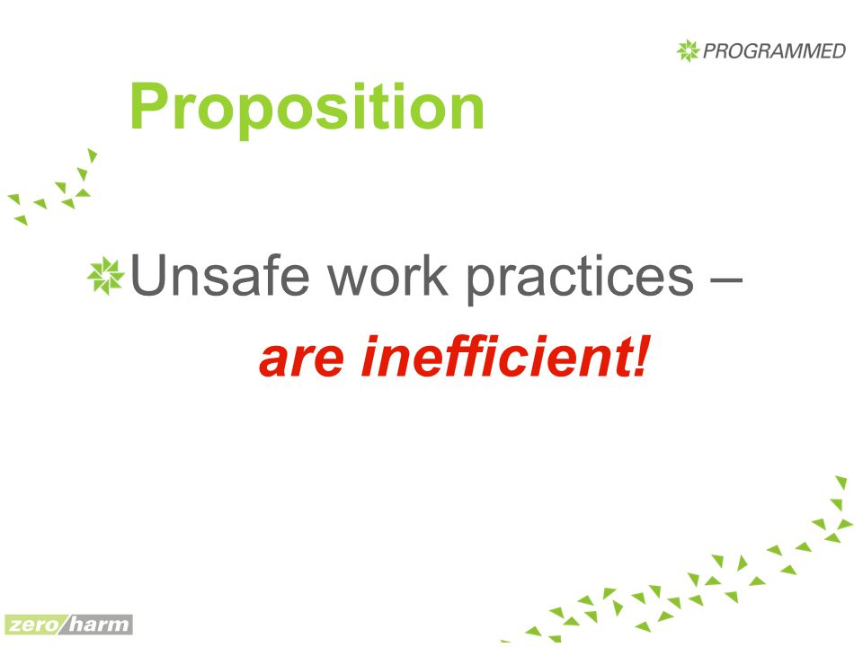 Proposition Unsafe work practices – are inefficient!