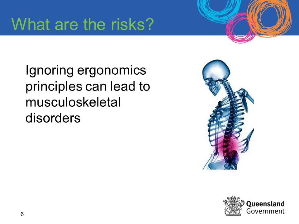 What are the risks Ignoring ergonomics principles can lead to musculoskeletal disorders.