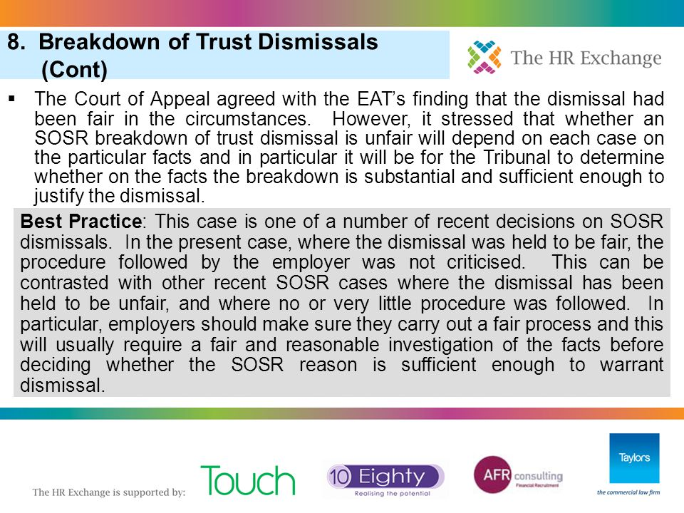 8. Breakdown of Trust Dismissals (Cont)