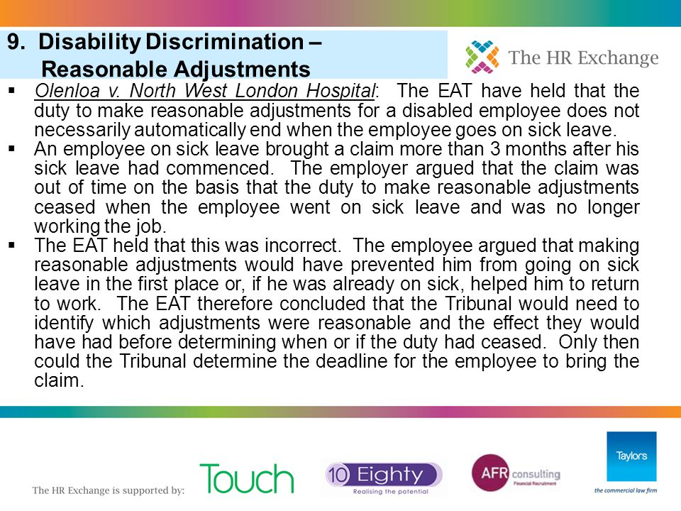 9. Disability Discrimination – Reasonable Adjustments