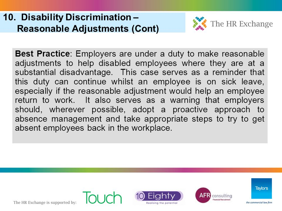 10. Disability Discrimination – Reasonable Adjustments (Cont)