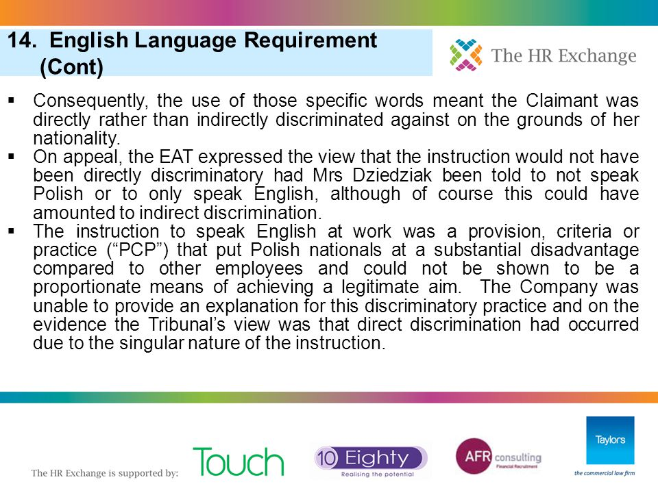 14. English Language Requirement (Cont)
