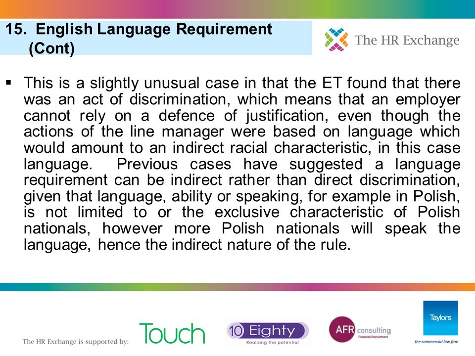 15. English Language Requirement (Cont)
