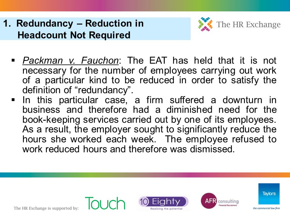 1. Redundancy – Reduction in Headcount Not Required