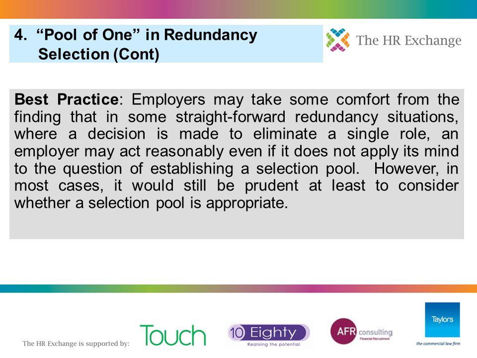 4. Pool of One in Redundancy Selection (Cont)